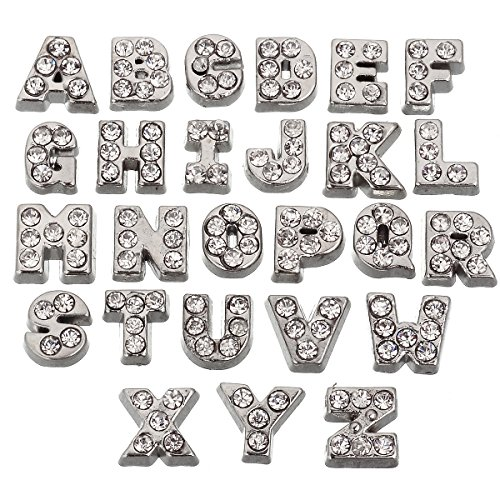 (RUBYCA 52pcs Czech Crystal Floating Charms Alphabet A-Z Letters Lot for Glass Living Memory Locket Silver Color)