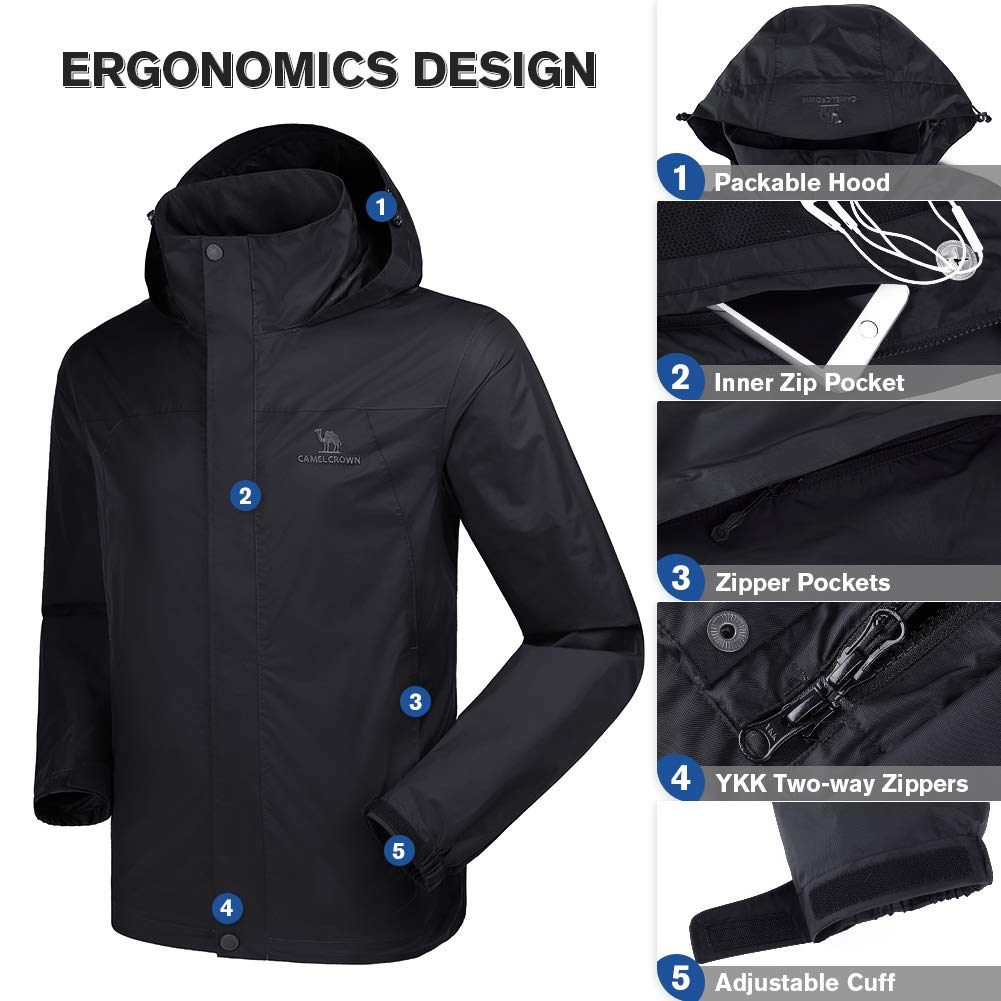 e94be9dce2146 Amazon.com  CAMEL CROWN Mens Waterproof Jacket Hooded Windbreaker Windproof  Rain Coat Shell for Outdoor Hiking Climbing Traveling  Sports   Outdoors