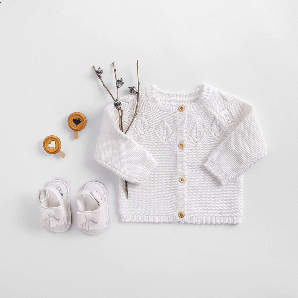 Hermk Toddler Baby Girls Long Sleeve Knitted Cardigan Sweaters Button-Down Cotton Crew Neck Coat Outerwear Fall Winter 0-24M