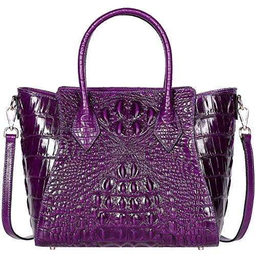 (PIJUSHI Embossed Crocodile Handbags for Ladies Designer Purses Top Handle Shoulder Bag (6082)
