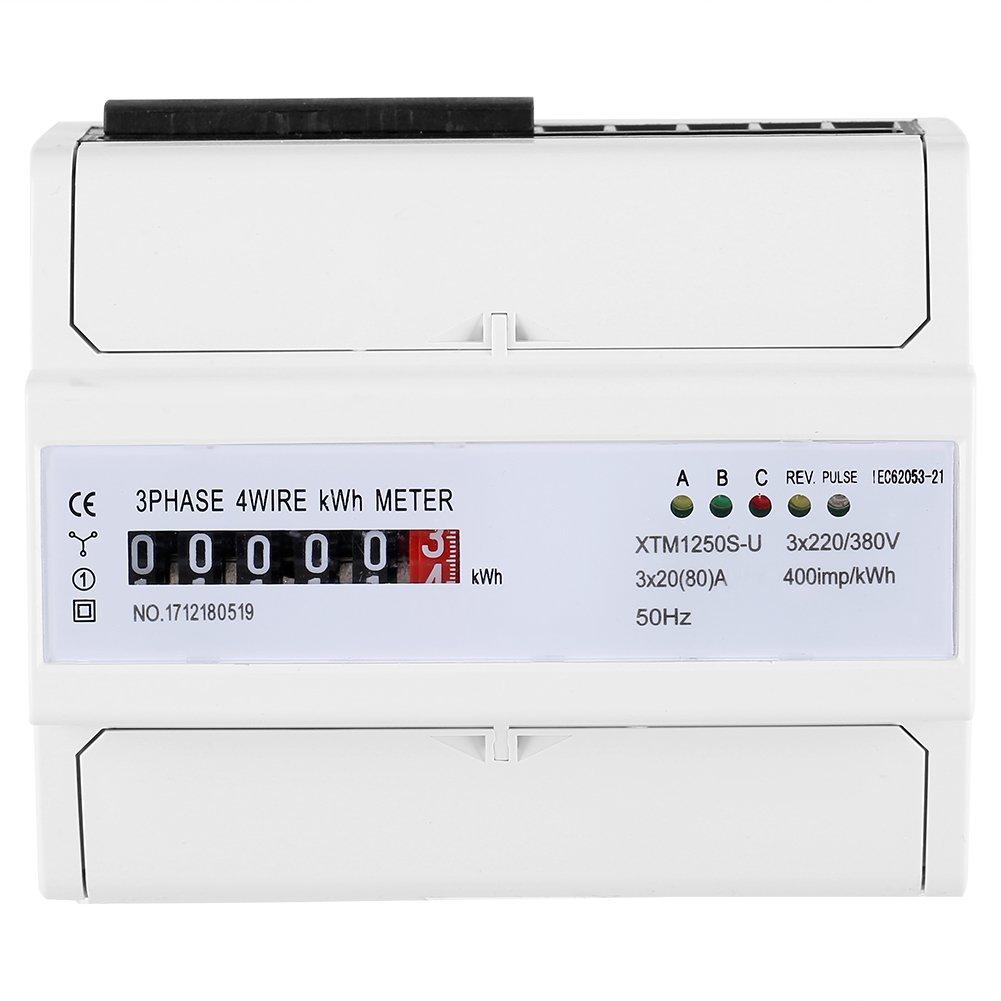 Multifunktions Energiemessger/ät XTM1250S-U Digitales 3-Phasen 4-Draht KWh Meter DIN Schienen 6-Stelliges Stromz/ähler 20 80 A