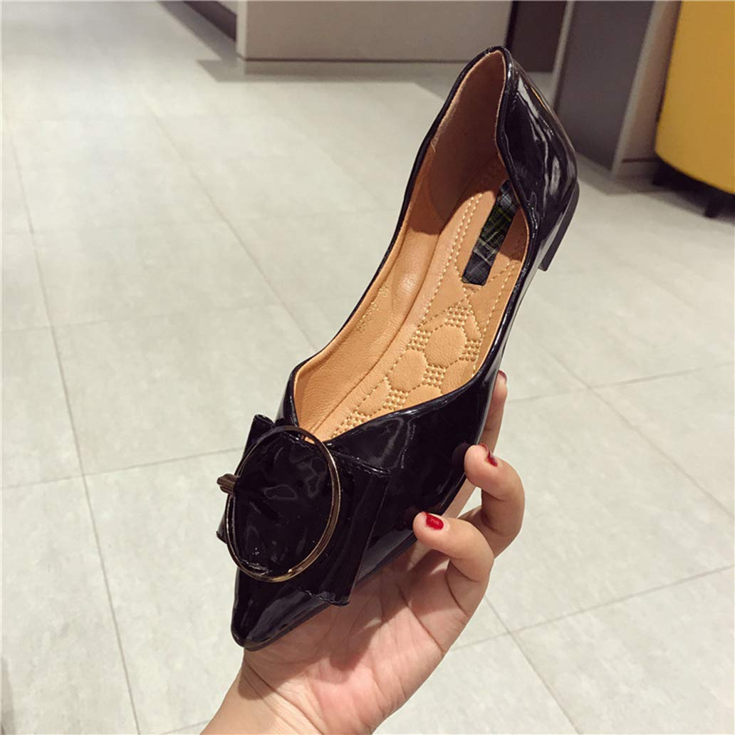 York Zhu Womens Flats Shoes Patent Leather Pointed Toe Metal Leisure Comfortable Flats