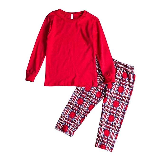 Hzjundasi Navidad Conjunto de Pijamas a Juego Familiar Manga Larga Blusa y Tartán Pantalones - Xmas