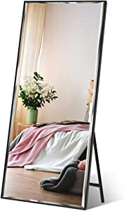 """Full Length Mirror 65""""x23.6"""" Standing, Wall Hanging, Vertical Black Frame HD Rectangle Full Body Tall Big Floor Stand up or Wall Mounted Mirror"""