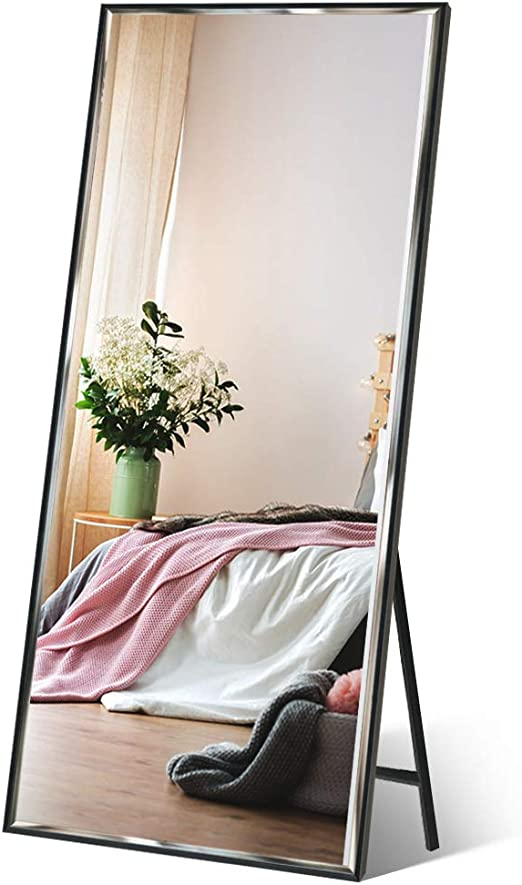 Amazon Com Zbeivan Full Length Mirror 65 X23 6 Standing Wall Hanging Vertical Black Frame Hd Rectangle Full Body Tall Big Floor Stand Up Or Wall Mounted Mirror Furniture Decor
