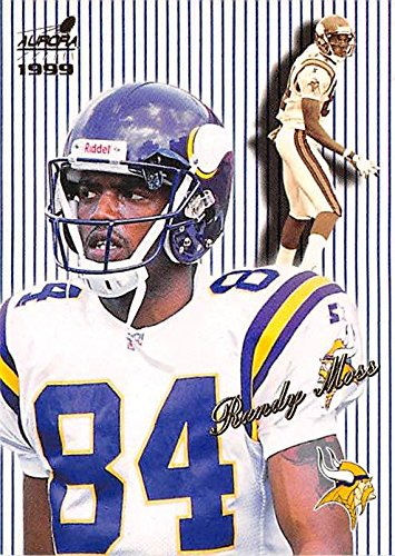 Randy Moss football card 1999 Aurora #83 (Minnesota Vikings Hall of Fame (Hall Of Fame Autographed Football)