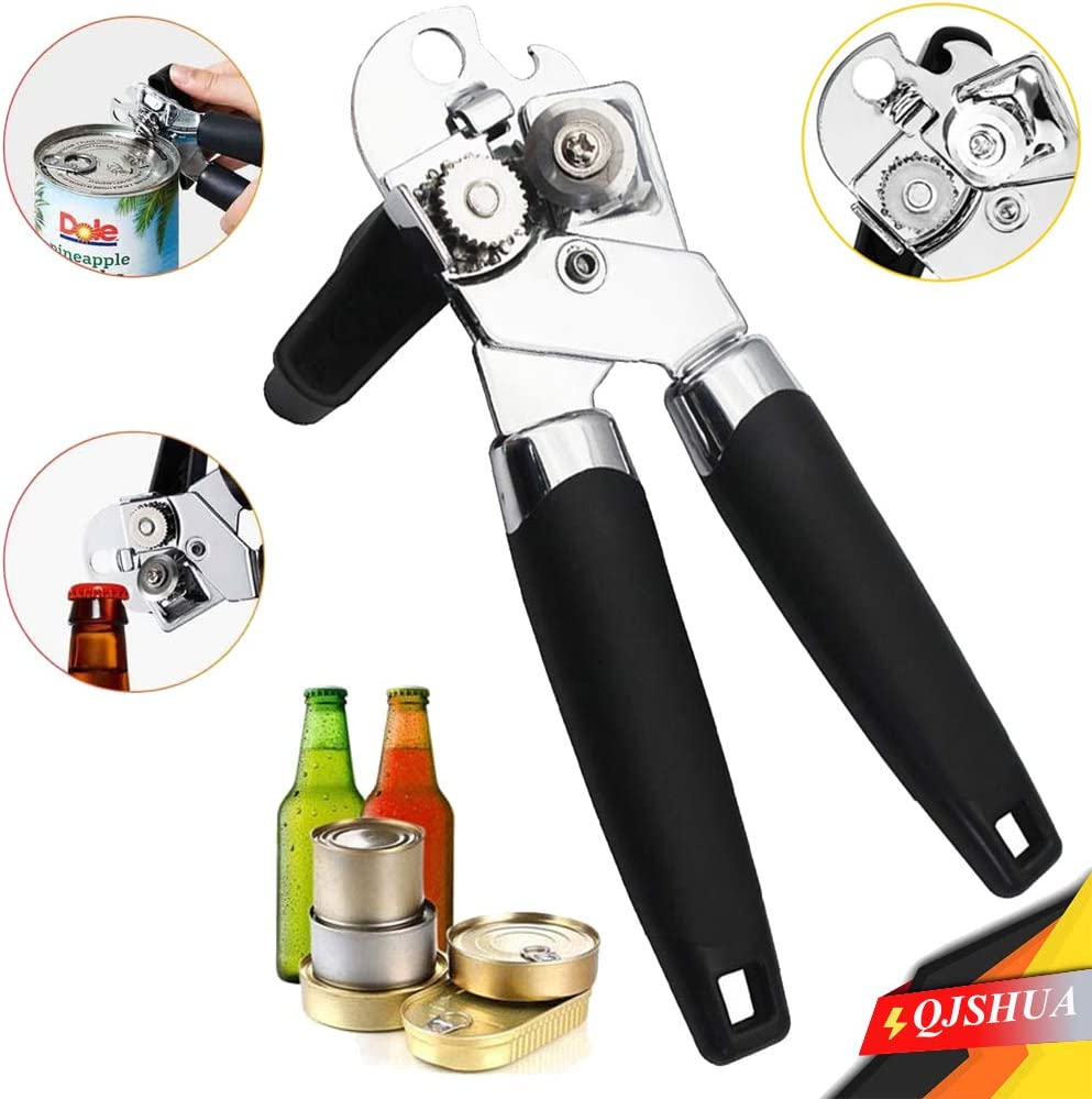 Stainless Steel Manual Can Opener,Professional Heavy Duty Can Bottle Opener with Easy Turn Knob