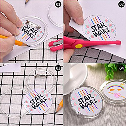 Badge Button Pin FJSM 30Pcs Round DIY Button Badge Acrylic Design Clear  Plastic Large Pin Button Badge Kit for Children's DIY Craft Supplies, 2 4  inch