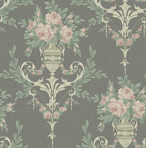 Floral Wallpaper in Black Pink Green Cream Iridescent ()