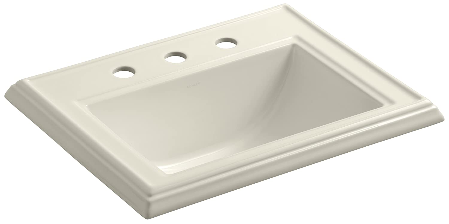 Kohler K-2241-8-47 Vitreous china Drop-In Rectangular Bathroom Sink, 22.75 x 18 x 8.75 inches, Almond