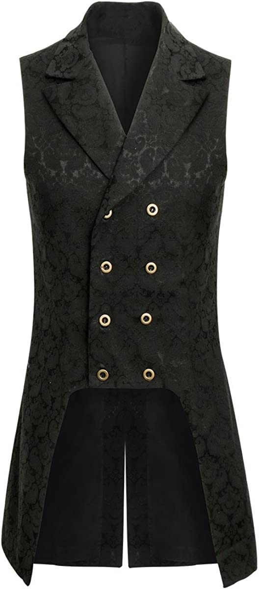 COSFLY Men Double Breasted Lapel Collar Waistcoat JacquardVest Gothic Steampunk