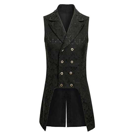 Men's Steampunk Jackets, Coats & Suits COSFLY Men Double Breasted Lapel Collar Waistcoat Jacquard Vest Gothic Steampunk $31.99 AT vintagedancer.com