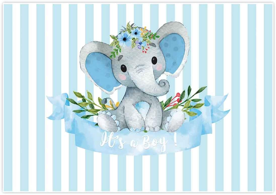 Allenjoy 7x5ft It's a Boy Elephant Backdrop for Baby Shower Party Blue White Banner Newborn Kids Prince Birthday Photography Background Cake Table Decoration Photo Booth Studio Props Favors Supplies