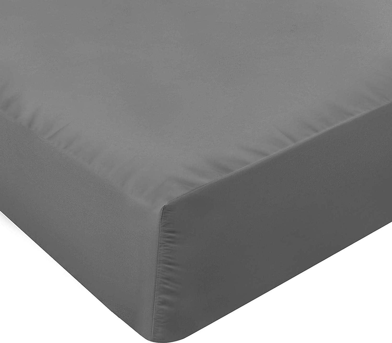 Utopia Bedding Sábana Bajera Ajustable - Bolsillo Profundo - Microfibra Cepillada - (Gris, 160 x 200 cm)