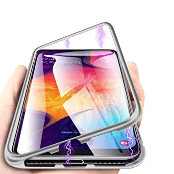 Funda Samsung Galaxy A50, [Tecnología De Absorción Magnética][Marco de Metal] [Clear Tempered Glass Back] Slim Fit Ultra Carcasa de Peso Ligero, para ...