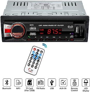 VIGORFLYRUN PARTS LTD 8258 12V 1 DIN Radio Reproductor de Coche Bluetooth Receptor de Medios Manos Libres Reproductor de MP3 Auto Receptor FM USB SD MMC Puerto AUX En Reproductor de M/úsica
