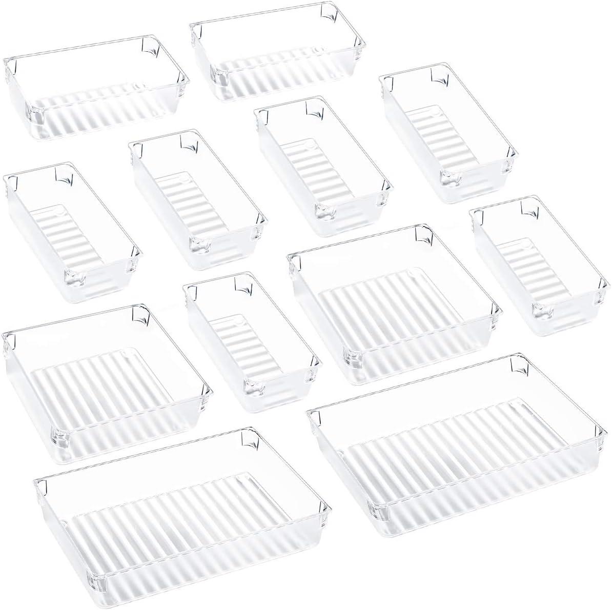 Kootek Desk Drawer Organizer Trays with 3-Size Drawer Dividers 12 Organizers Bins Customize Layout Storage Box for Bedroom Dresser Bathroom Kitchen Office (2 Sets)