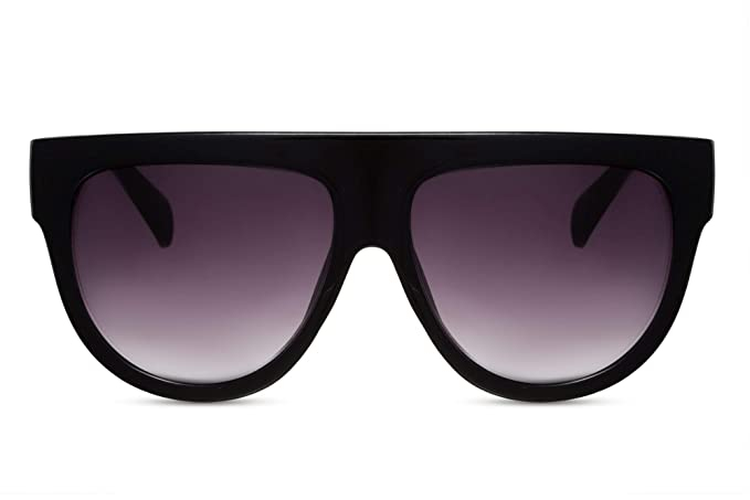 Cheapass Gafas de Sol Negro Lentes Redondos Marrón Leo Vintage Mujer Hombre