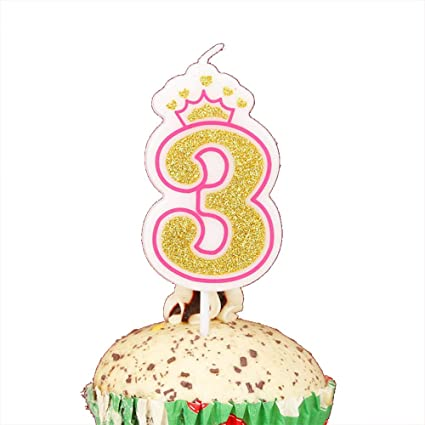 LOVELY BITON Gold 3quot Happy Birthday Candles 0 9 Molded Number For