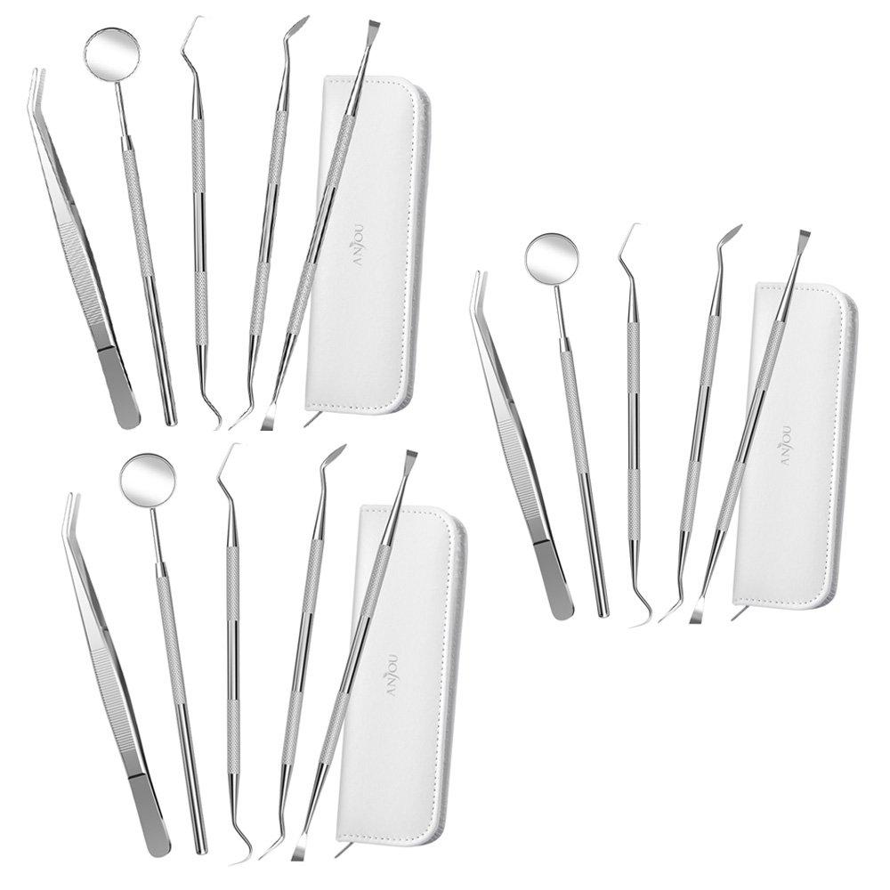 [3-Pack] Dental Tools Kit Professional 304 Stainless Steel, Anjou 5-in-1 Dental Hygiene Kit Oral Care Set
