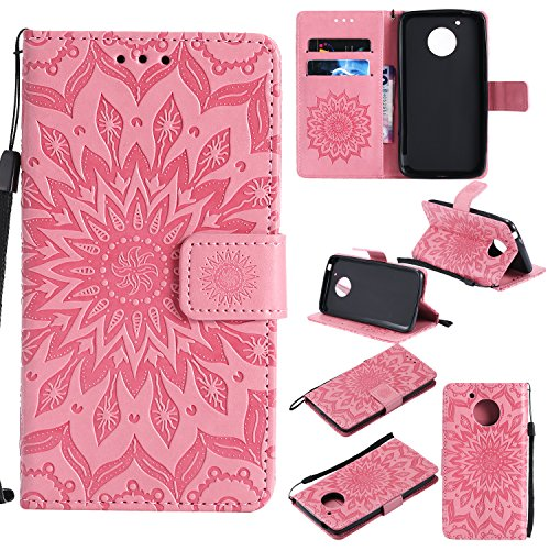 Price comparison product image Moto G5 Case,  Dfly-US Premium Soft PU Leather Embossed Mandala Design with Kickstand Function Card Slots & Wrist Strap Protective Flip Slim Fit Wallet Cover for Motorola Moto G5 (5.0 Inch),  Pink