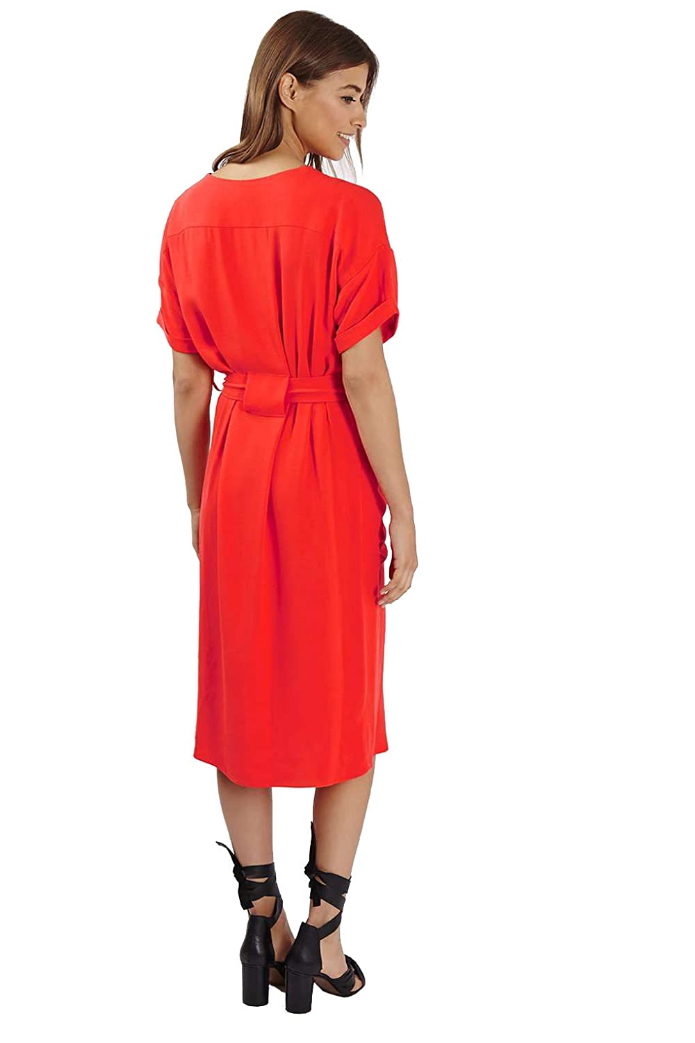 TOPSHOP Relaxed midi dress with self tie belt and front split detail and pockets size 8, 10, 12 (8): Amazon.co.uk: Clothing