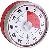 ダイヤルタイマー 60分計 電池不要 マグネット付き キッチンタイマー アナログタイマー クッキング ゼンマイ式 電池不要 料理用タイマー ベーキング アラーム (レッド)