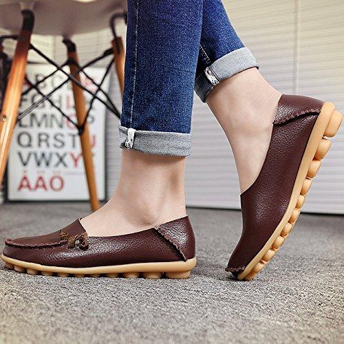 inicio Mocasines Café cuero Mocasines Auspicioso Moda Zapatos de Señoras planos SdBpqw4
