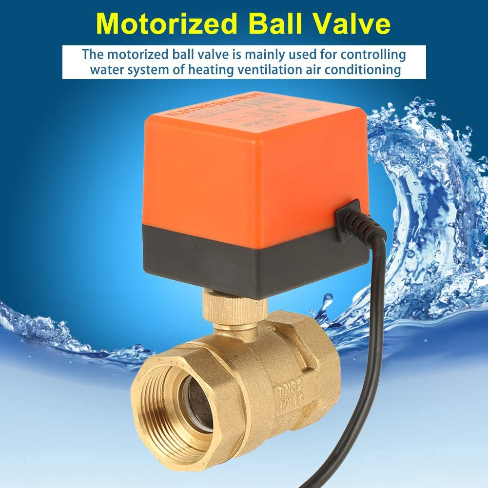 G1-1//4 Thread 2-Way 3-Wire 2-Point Control Brass Motorized Ball Valve for Water AC 220V DN32 Electric Ball Valve Air and Oil
