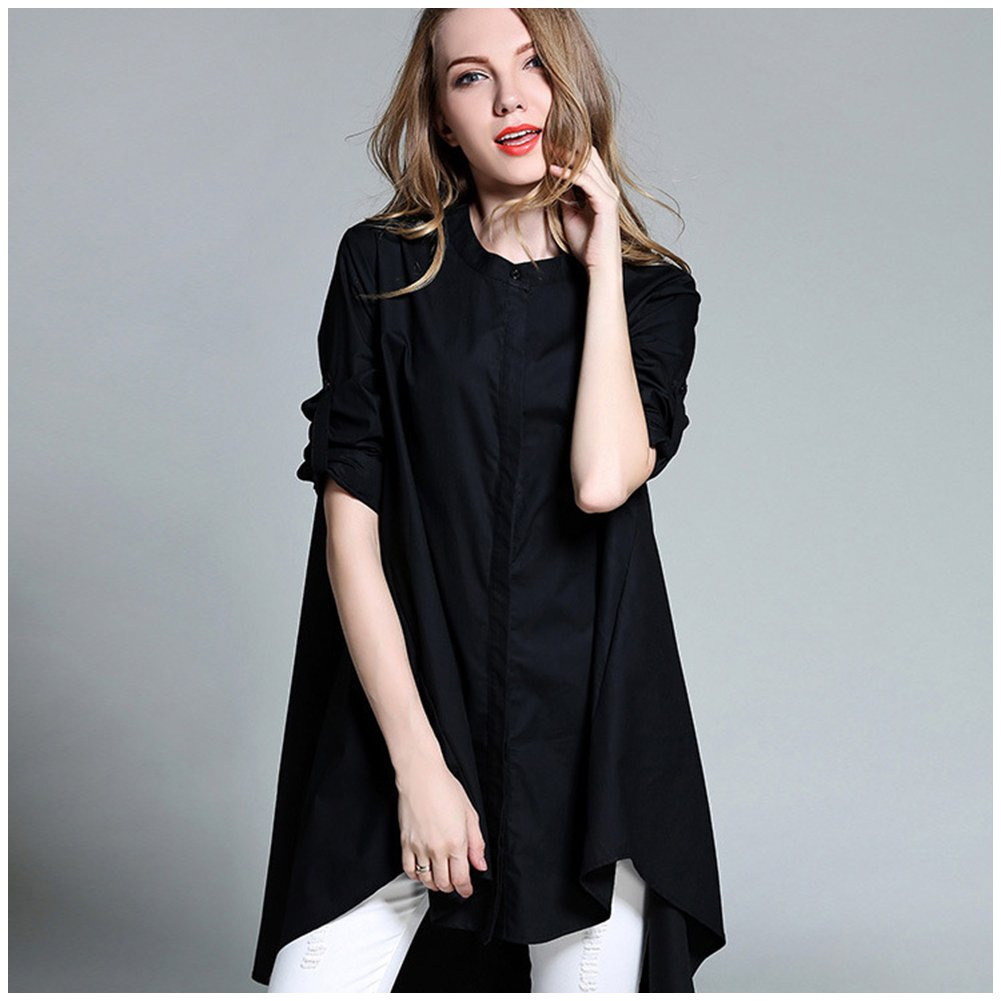 9c6a8e6a0c M A Camisa Mujer Talla Grande Maxi Camisa Larga Cuello Redondo Manga Larga  Para Otoño Invierno 2017