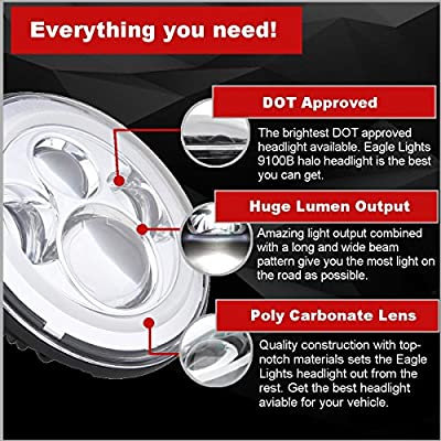 Eagle Lights 7 inch LED Headlight with Halo Ring for Harley Davidson and all Motorcycles with 7 inch Headlight (Chrome): Automotive