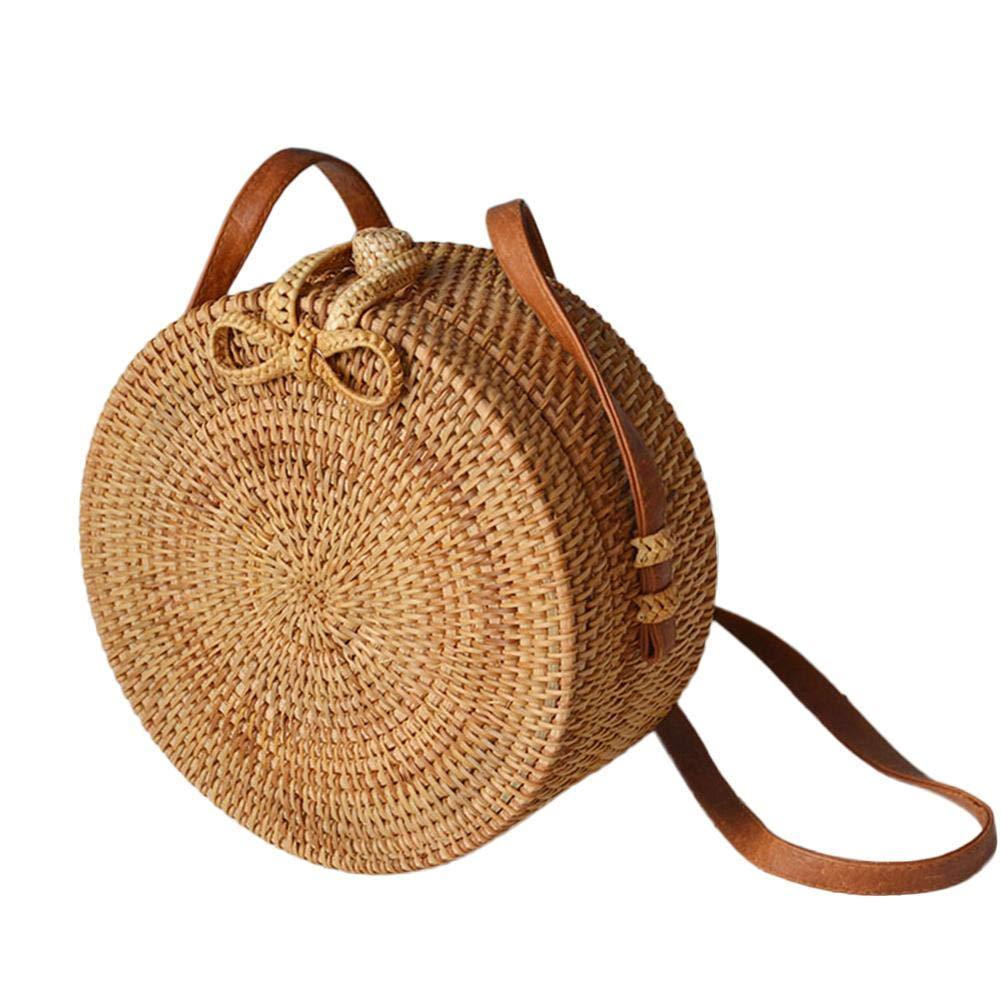 Handmade rattan woven bag Natural rattan Round crossbody Beach woven storage bag by iBelly