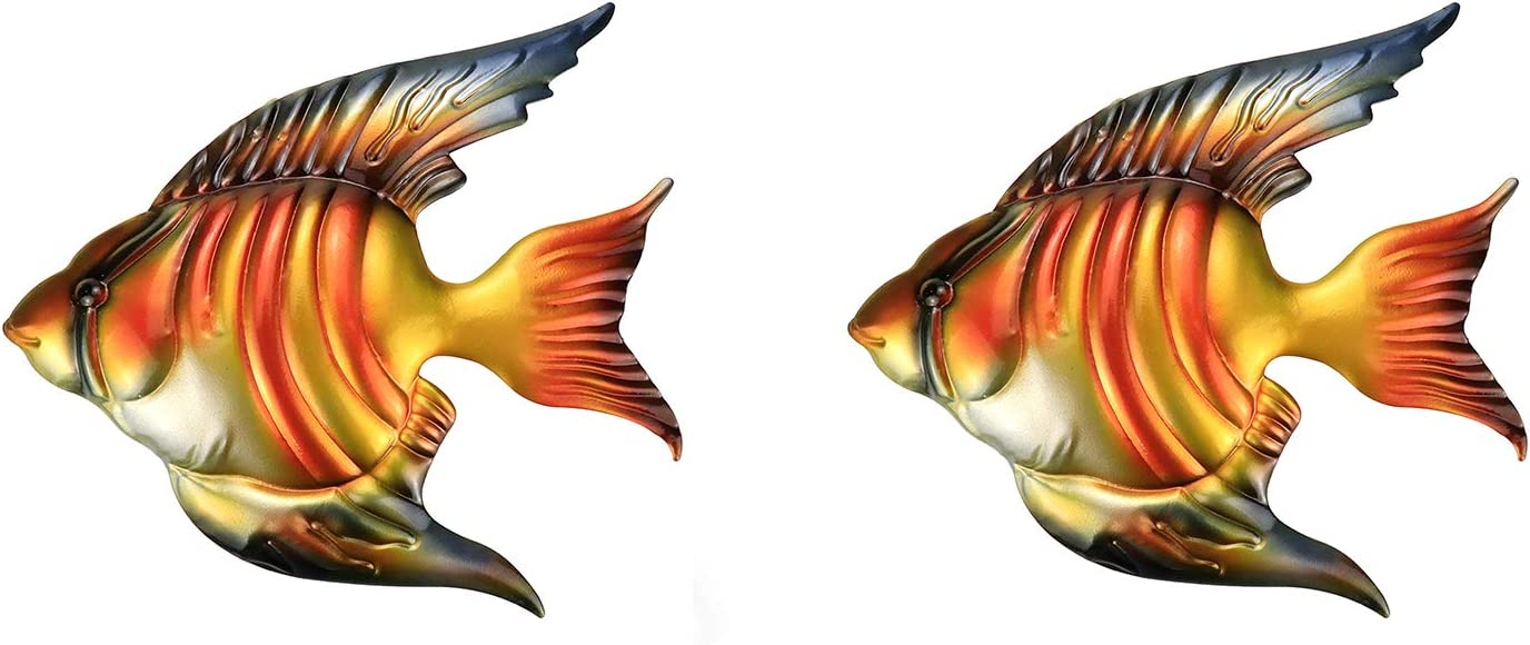 Autoly 2Packs Tropical Ocean Fish Wall Decor Metal Creative Fish Wall Art Sculpture Indoor Outdoor Beach Theme Hanging Decorations