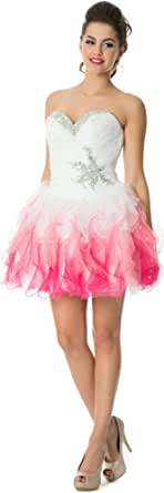 Amazon.com: Tonal Ruffle Short Prom Homecoming Dress Sweet