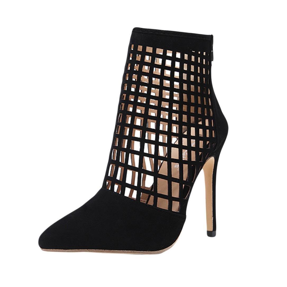 Sandales Noir Pointues Orteils Femme, GongzhuMM Bottines Bottes Creux Maille à Talons Hauts Femme Chaussures Femme 35-39 EU Talon Haut 12cm