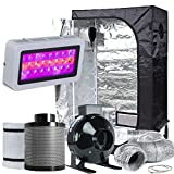 TopoLite Grow Tent Room Complete Kit Hydroponic Growing System LED 300W Grow Light + 4'' Carbon Filter Combo + 36''x20''x63'' Dark Room (LED300W+36''x20''x63''+4'' Filter Combo)