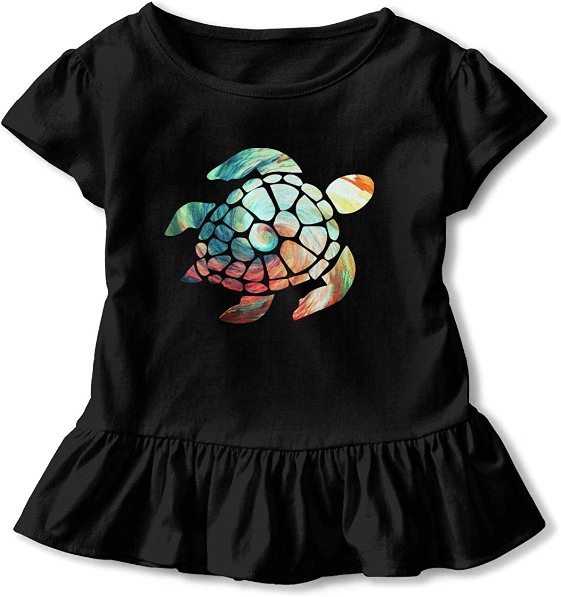 Space Watercolour Turtle Toddler Girls T Shirt Kids Cotton Short Sleeve Ruffle Tee