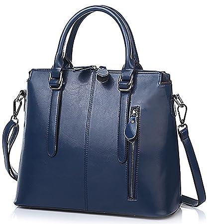 120e0919c7 Oruil femme italienne en cuir souple Double Zip sacs à main dames Designer  bleu sacs à