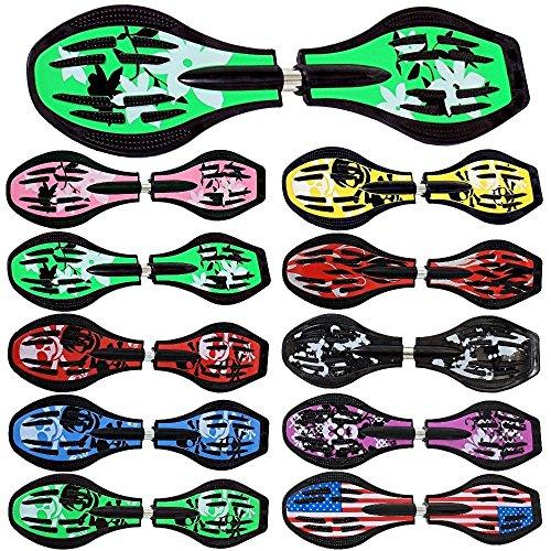 Waveboard Original FunTomia mit ABEC-11 Lager inkl. Tasche und CD (Es stehen verschiedene Farbdesigns zur auswahl) (Grün / Blume Design - mit LED Rollen)