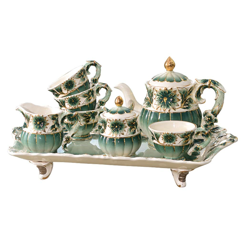 CSQ Coffee Cup Afternoon Tea Set, Ceramic Coffee Pot Household Eight-Piece Tea Set Scented Tea Teapot Capacity: 1050ml Afternoon Tea (Color : Green)
