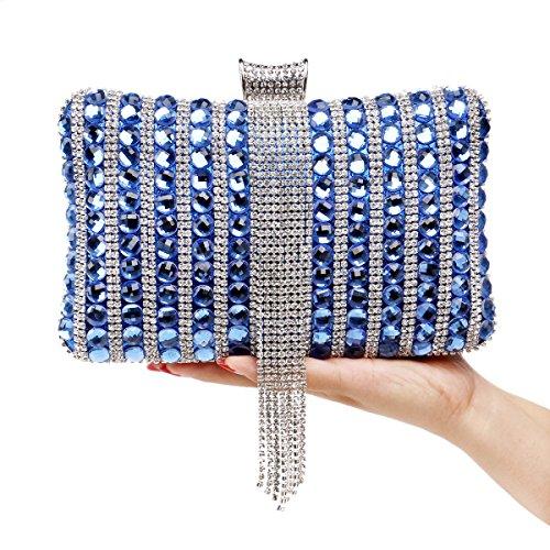GSHGA Women's Handbag Diamonds Handbag Exquisite Banquet Evening Bag,Red Blue