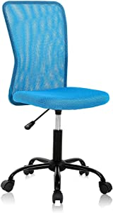 Ergonomic Desk Chair Mid Back Mesh Chair Height Adjustable Office Chair, Home Office Chair Modern Task Computer Chair No Armrest Executive Rolling Swivel Chair with Casters,Blue
