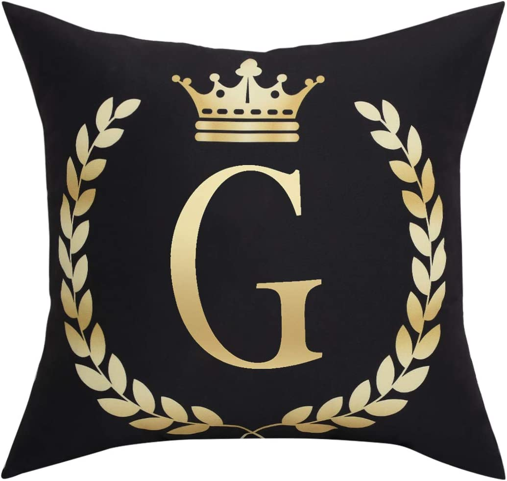 Black Pillow Cover Throw Pillow Case English Alphabet G Throw Pillow Case Modern Cushion Cover Square Pillowcase Decoration for Sofa Bed Chair Car 18 x 18 Inch