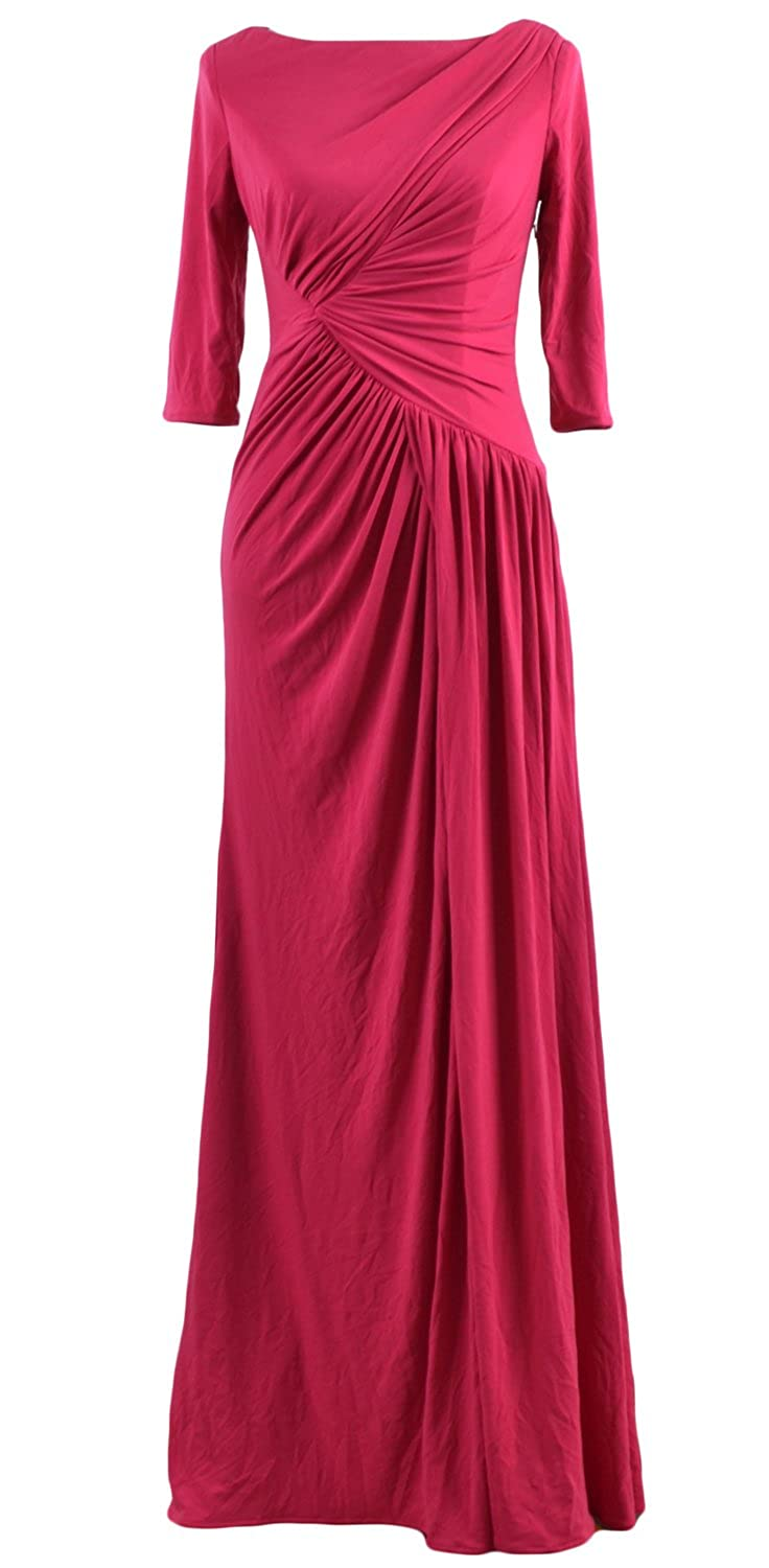 MACloth Mother of Bride Dresses Half Sleeves Jersey Evening Party Formal Gown
