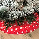 The Festive Star Bright LED Tree Skirt, Red with White Stars, Lit Up From Inside, Cloth LED, 4 CR2032 Batteries Required, (2 Included) Over 3 ½ Ft Diameter, By Whole House Worlds