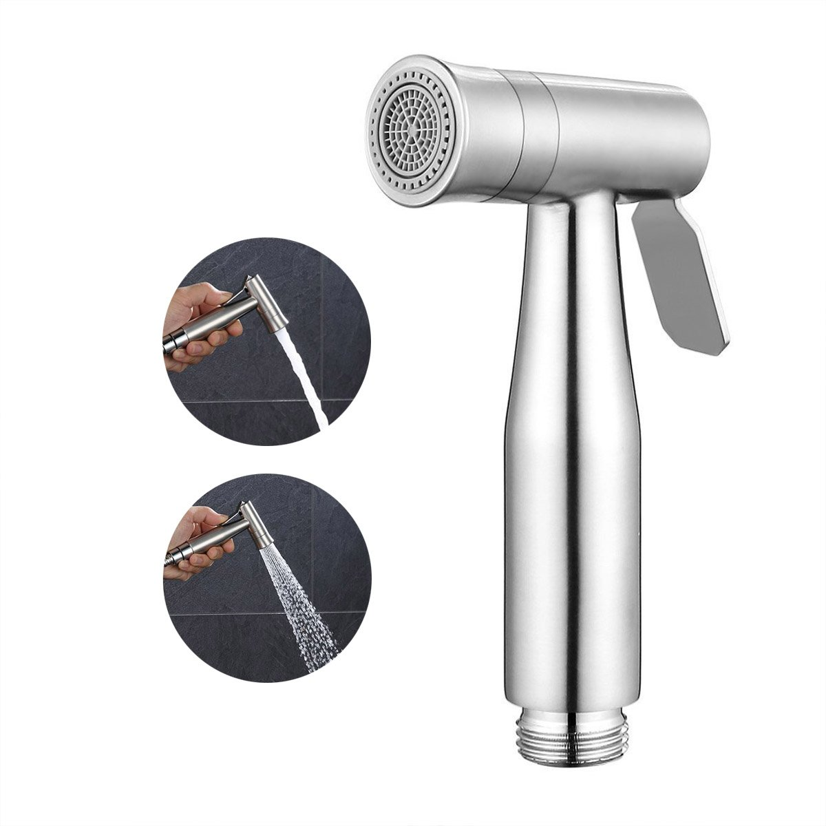 ESOW SUS304 Cloth Diaper Sprayer Head with Dual Spray Modes, Bathroom Handheld Shattaf Sprayer Showerhead with Adjustable Water Pressure Control, For Personal Hygiene Cleaning Care (Sprayer Head Only)