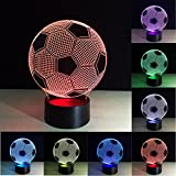 Tiscen Optical Illusion 3D Lamp 7 Colour Changing Football LED Night Light with Acrylic Flat, ABS Plastic Base, USB Charge