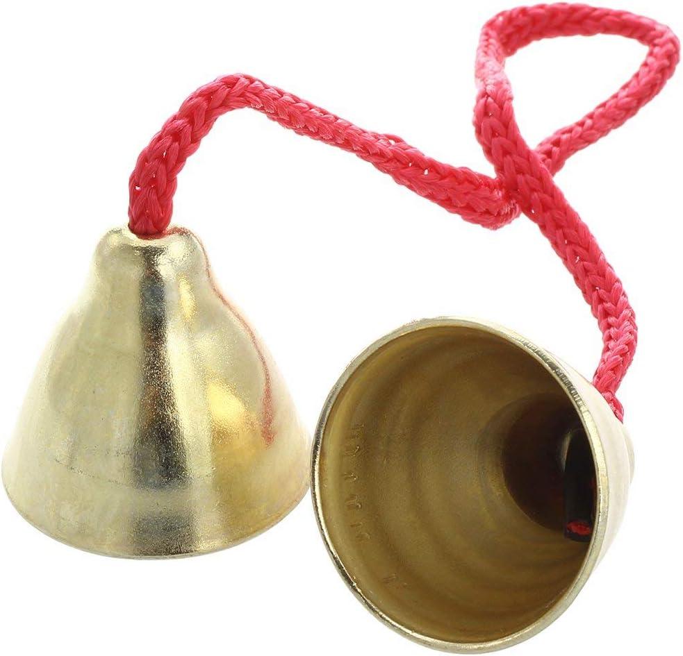 1 par de campanas de latón con cordón de 32 cm instrumento, jingle Bells campanas de bronce colgantes de cobre para carillones eólicos para decoración artesanal, cena o recepción.