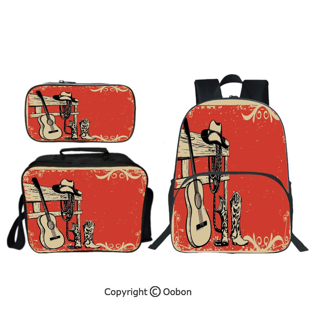 Oobon Kids Toddler School Waterproof 3D Cartoon 16'' Backpack, Image of Wild West Elements with Country Music Guitar and Cowboy Boots Retro Art Decorative, with Lunch bag Pencil bag Three-piece by Oobon