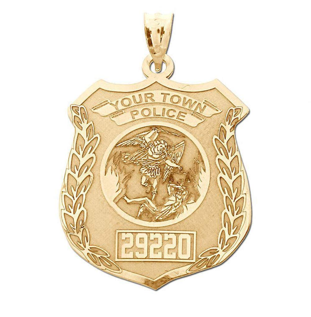 PicturesOnGold.com Solid 10K Yellow Gold Saint Michael Personalized Police Badge with Department & Badge Number - Size 2/3 x 3/4 inch by PicturesOnGold.com